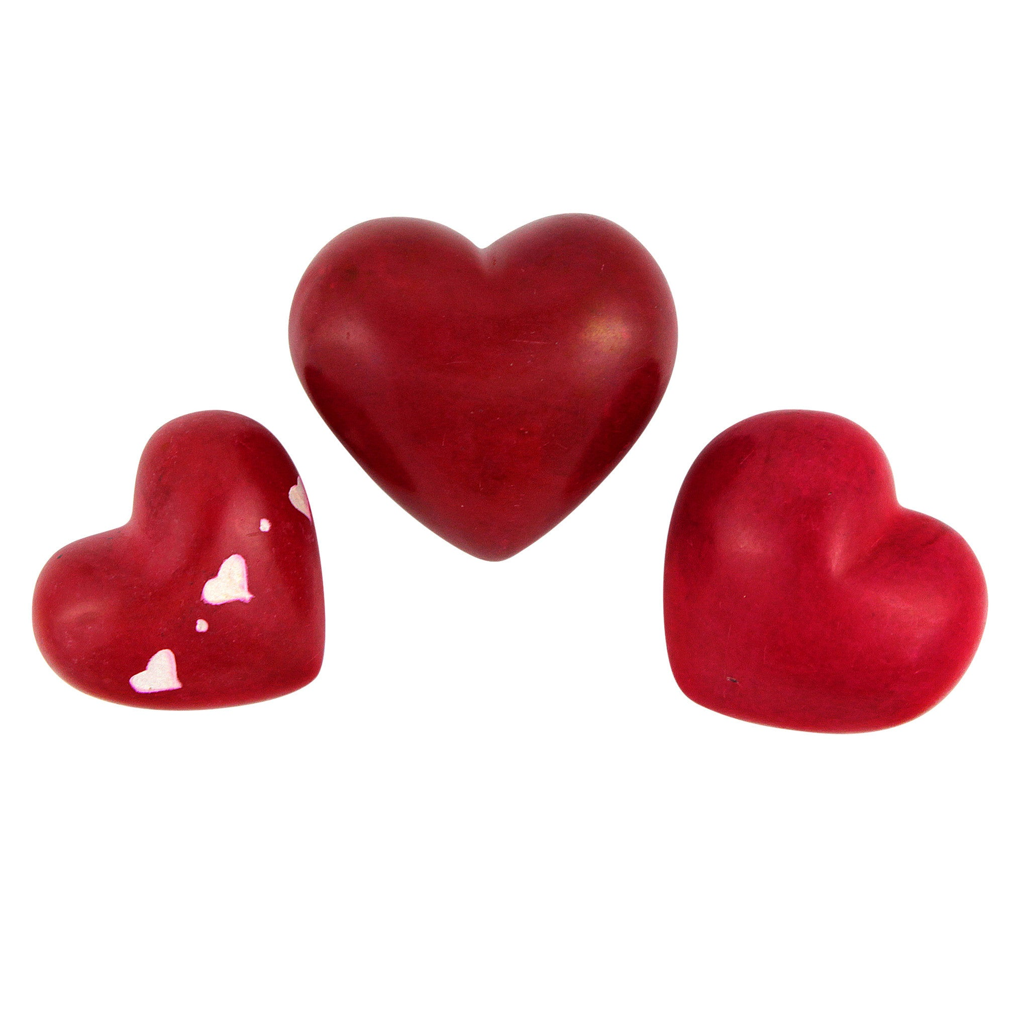 Kenyan Red Soapstone Heart Shaped Paperweight Set by Venture Imports