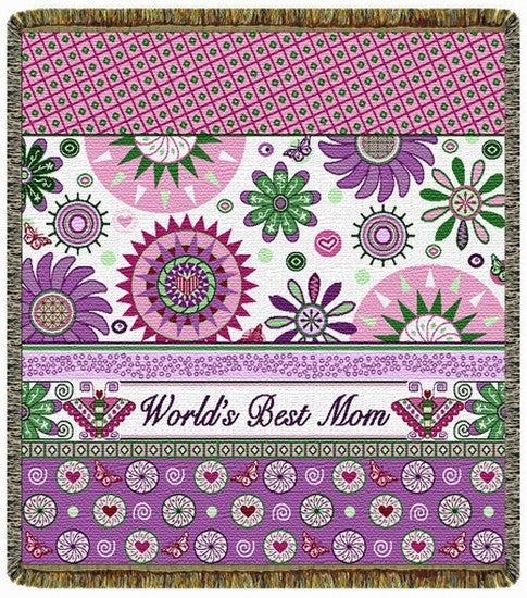 World's Best Mom Tapestry Throw