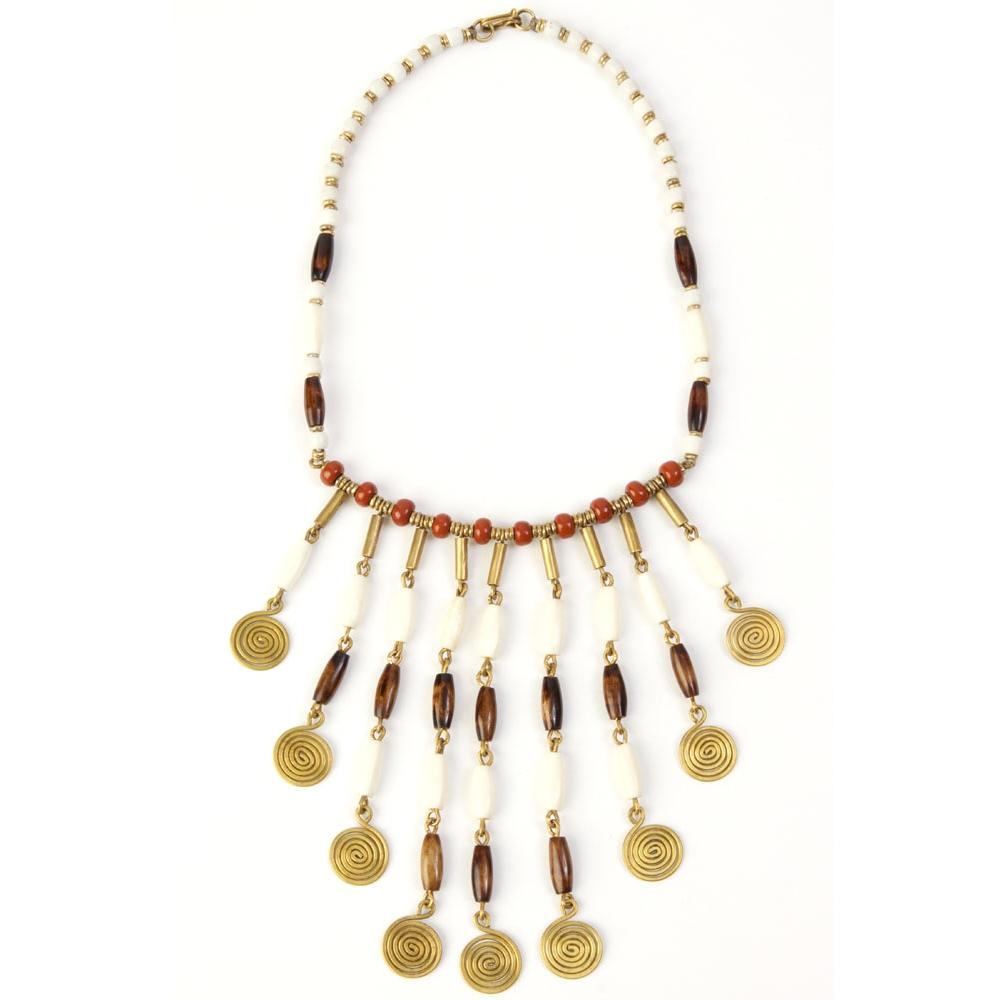 Caramel Mocha Swirl Necklace: Authentic African Cow Bone and Brass Necklace