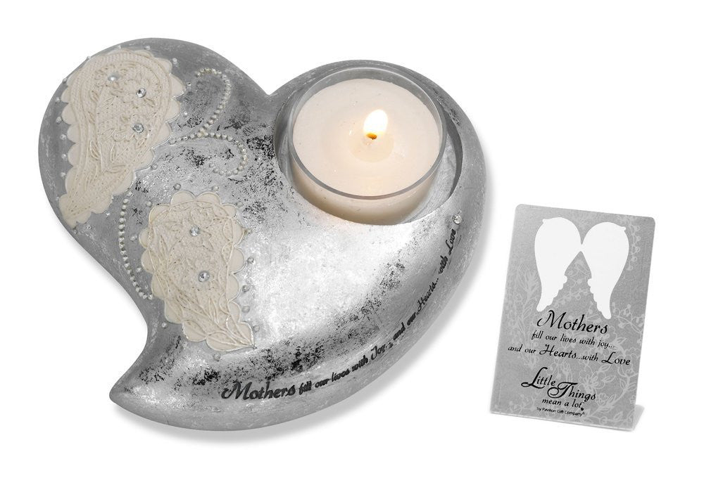 Mom Heart Shaped Tea Light Holder: Little Things Mean A Lot Collection by Pavilion Gifts