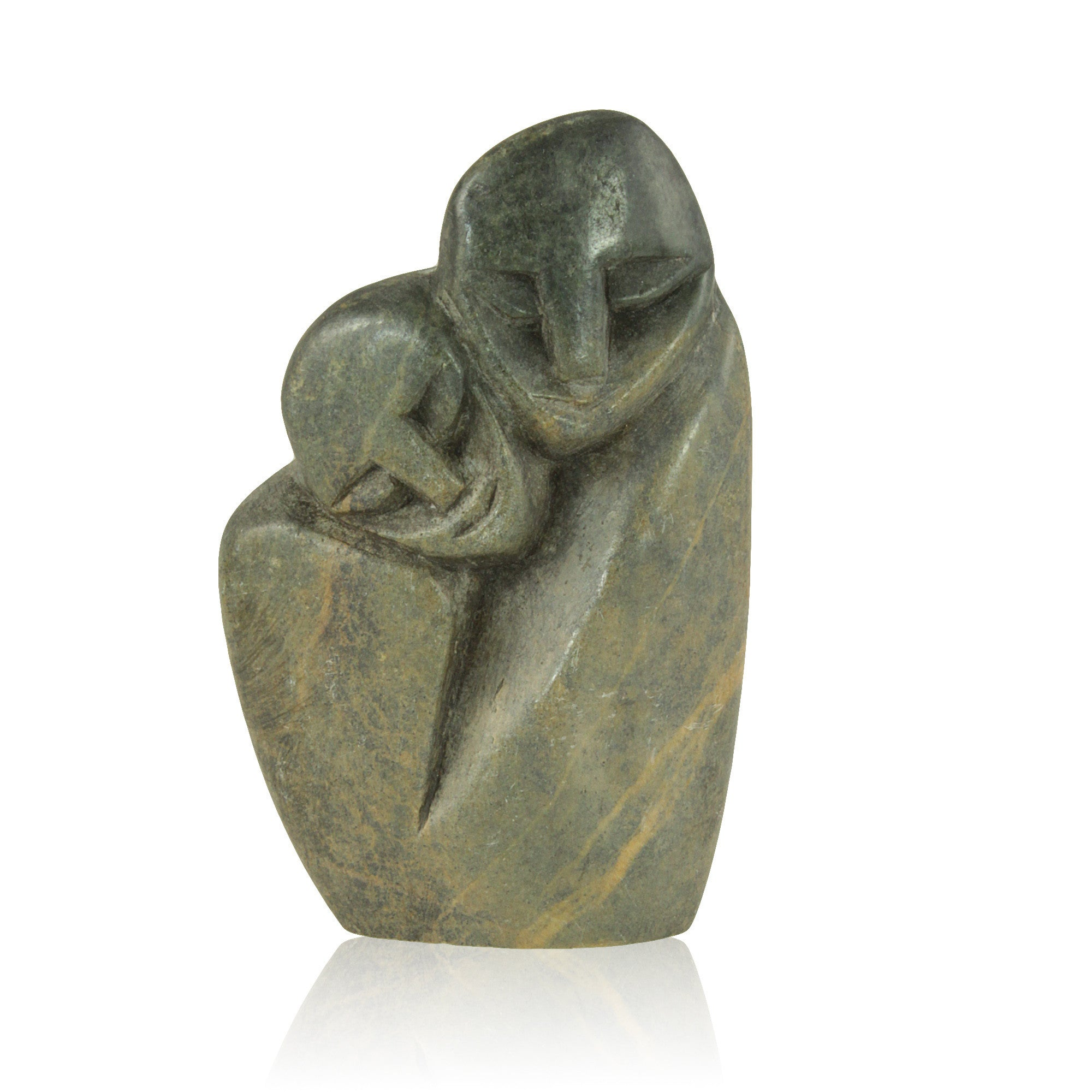 Hand Made Zimbabwean Mother and Child Abstract Shona Sculpture