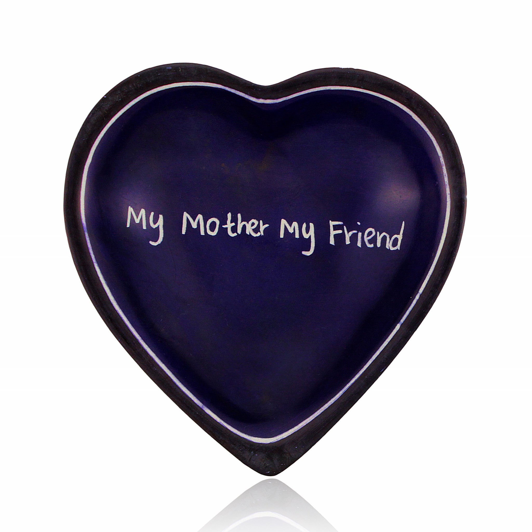 My Mother, My Friend Kenyan Heart Shaped Soapstone Dish by Venture Imports