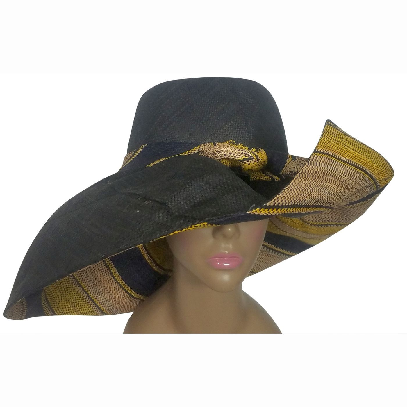 Fitahiana: Authentic African Handwoven Multicolor Madagascar Big Brim Raffia Sun Hat