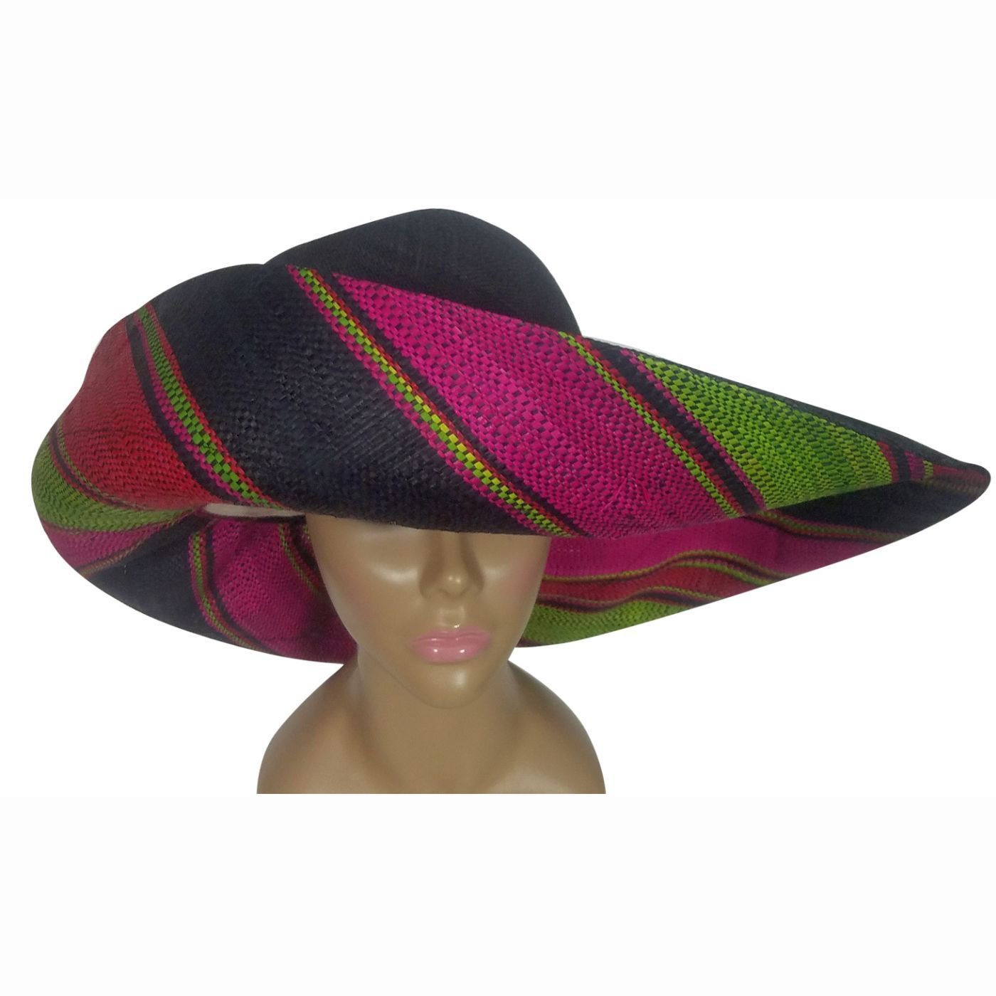 Sedera: Authentic African Handwoven Multi-Color Madagascar Big Brim Raffia Sun Hat