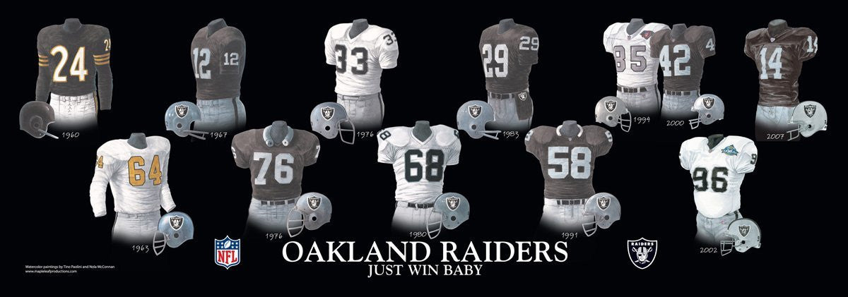 Oakland Raiders: Just Win Baby Poster by Nola McConnan and Tino Paolini