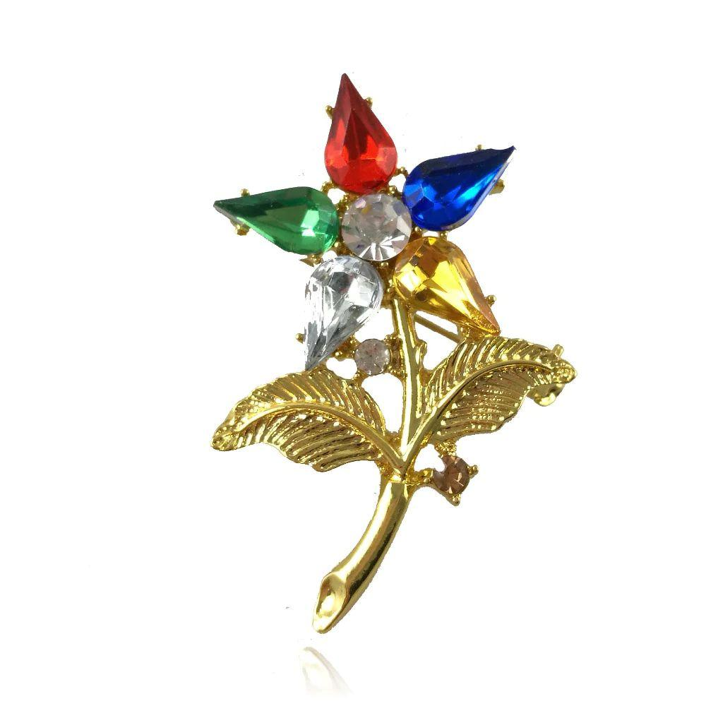Order of the Eastern Star Heroine Flower Crystal Brooch