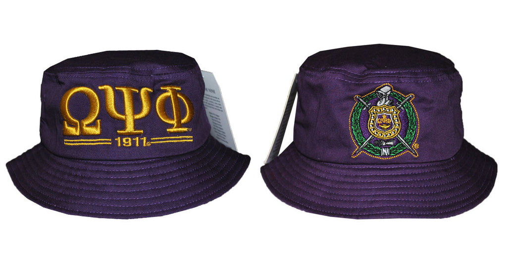 30645127f Omega Psi Phi 1911 Purple and Gold Bucket Hat by Big Boy Headgear ...