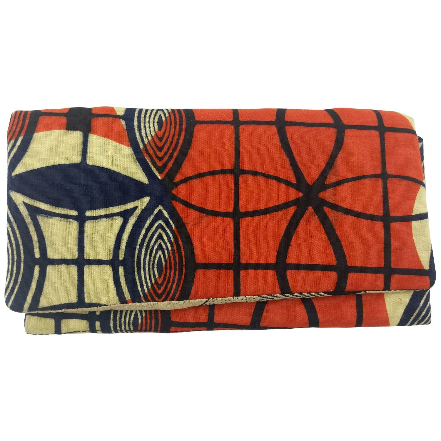 East African Kitenge Fabric Women's Wallet (Beige,Orange and Blue)