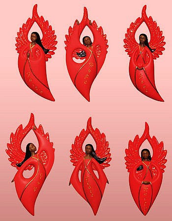 African American Angel Variety Christmas Ornament Set II (Red)
