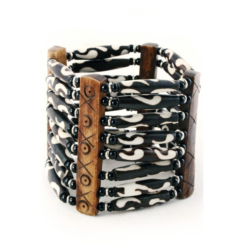 Authentic African Hand Crafted Batik Bone Bracelet by Boutique Africa