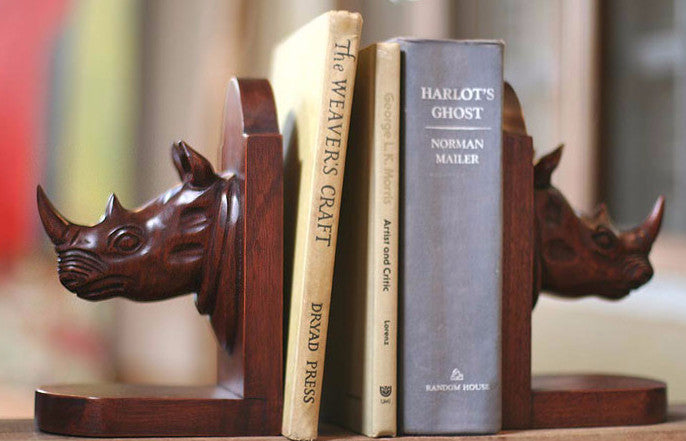 Authentic African Wooden Rhinocerous Bookend Set (Ghana)