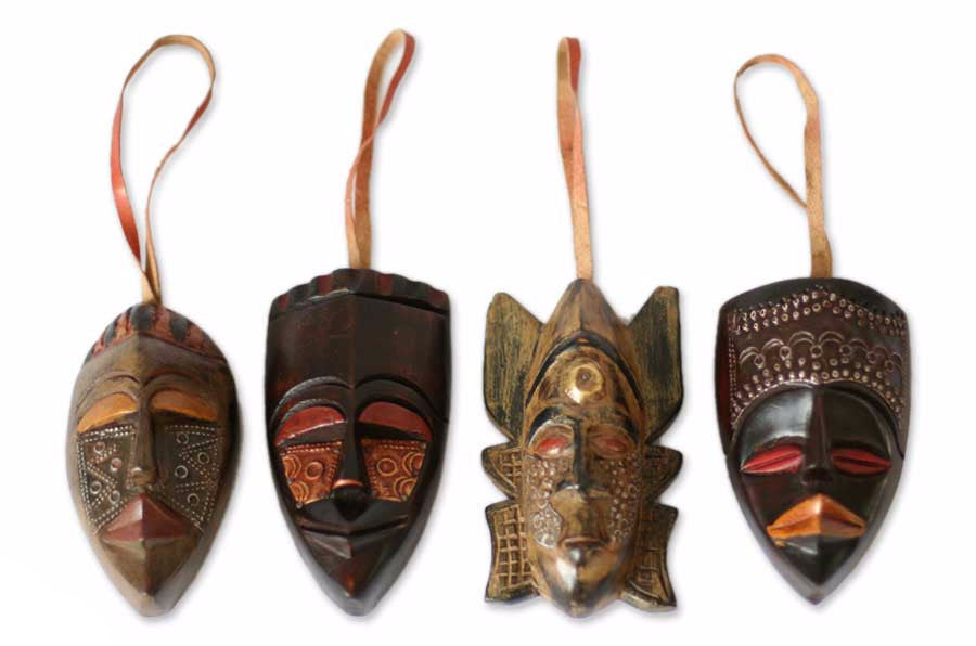 Authentic African Festive Mask Christmas Ornament Set (Ghana)