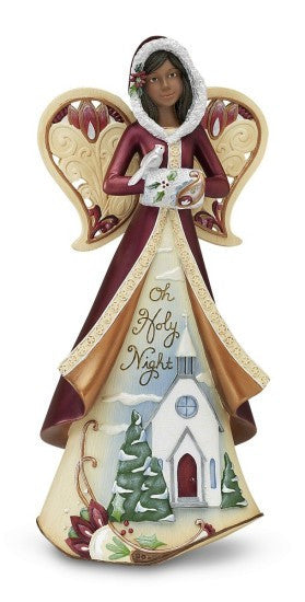 Oh Holy Night Angel With Diorama Figurine by Perfect Paisley