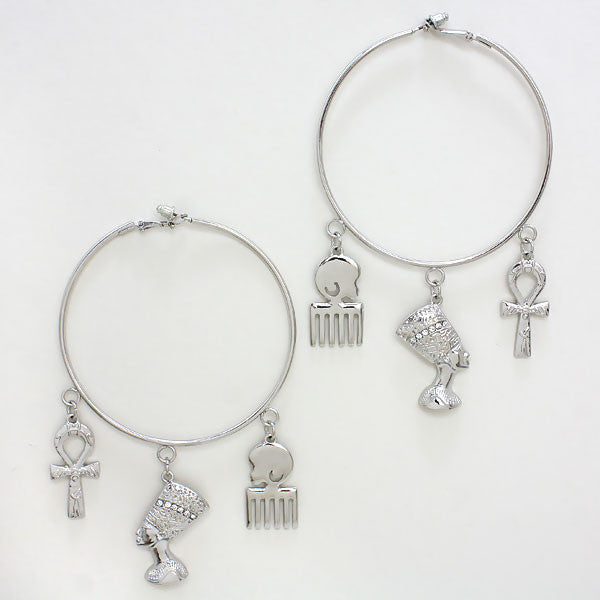 Silver Toned Pharaoh Hoop Earrings