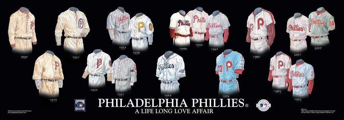 Philadelphia Phillies Uniform/Jersey Baseball Poster by Nola McConnan and William Band