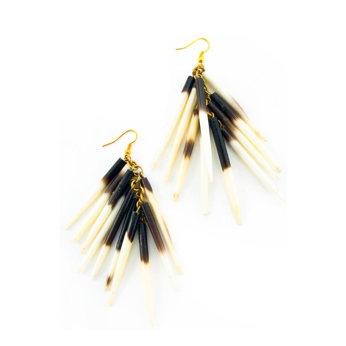 Authentic African Porcupine Quill Fishhook Earrings by Boutique Africa