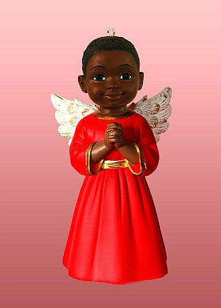 Prayer (Red): African American Christmas Ornament