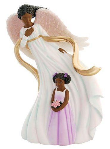 Tall African American Guardian Angel with Girl Figurine by Positive Image Gifts
