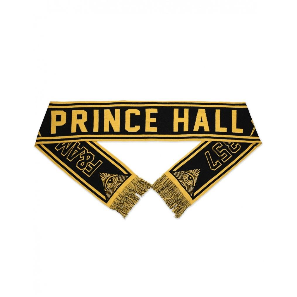 Prince Hall 357 Free and Accepted Mason Black and Gold Winter Scarf