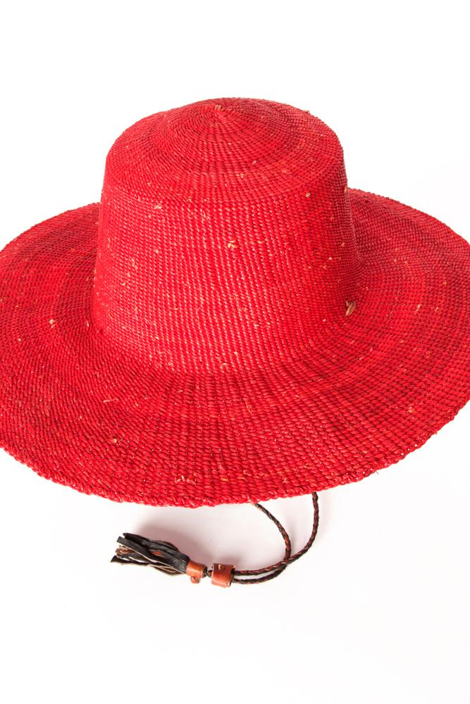 11465e47263 ... Authentic Hand Woven Ghanaian Elephant Grass Sun Hat (Red) ...