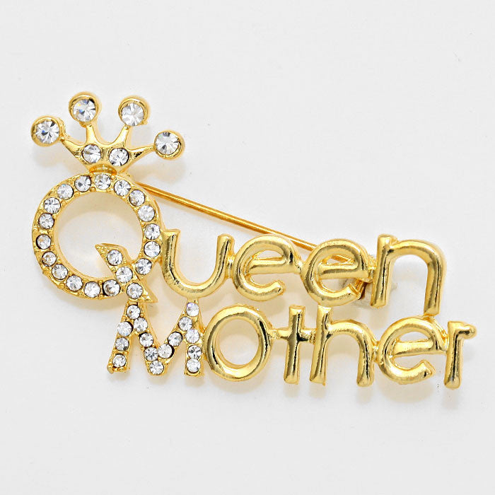Queen Mother Crystal Pave Gold Toned Mother's Day Brooch (Front)
