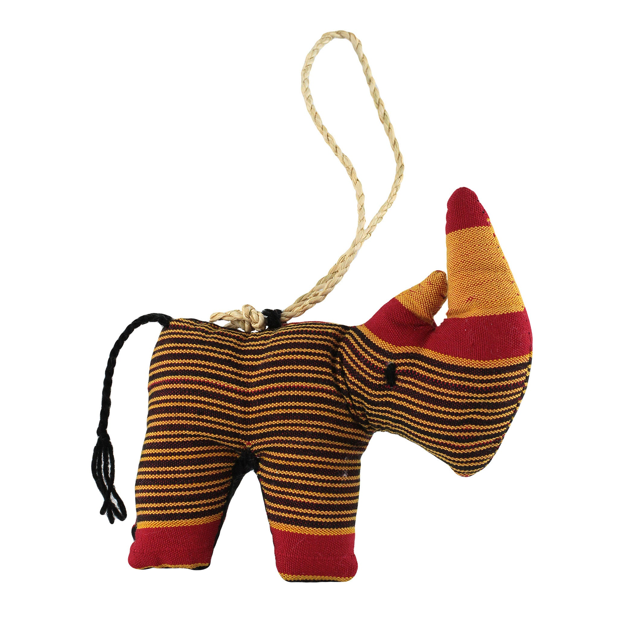Hand Sewn Ugandan Rhino Stuffed Animal Christmas Ornament