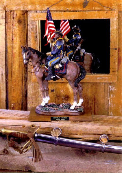 Buffalo Soldier on Horseback (Hand Painted) by Rod Mench