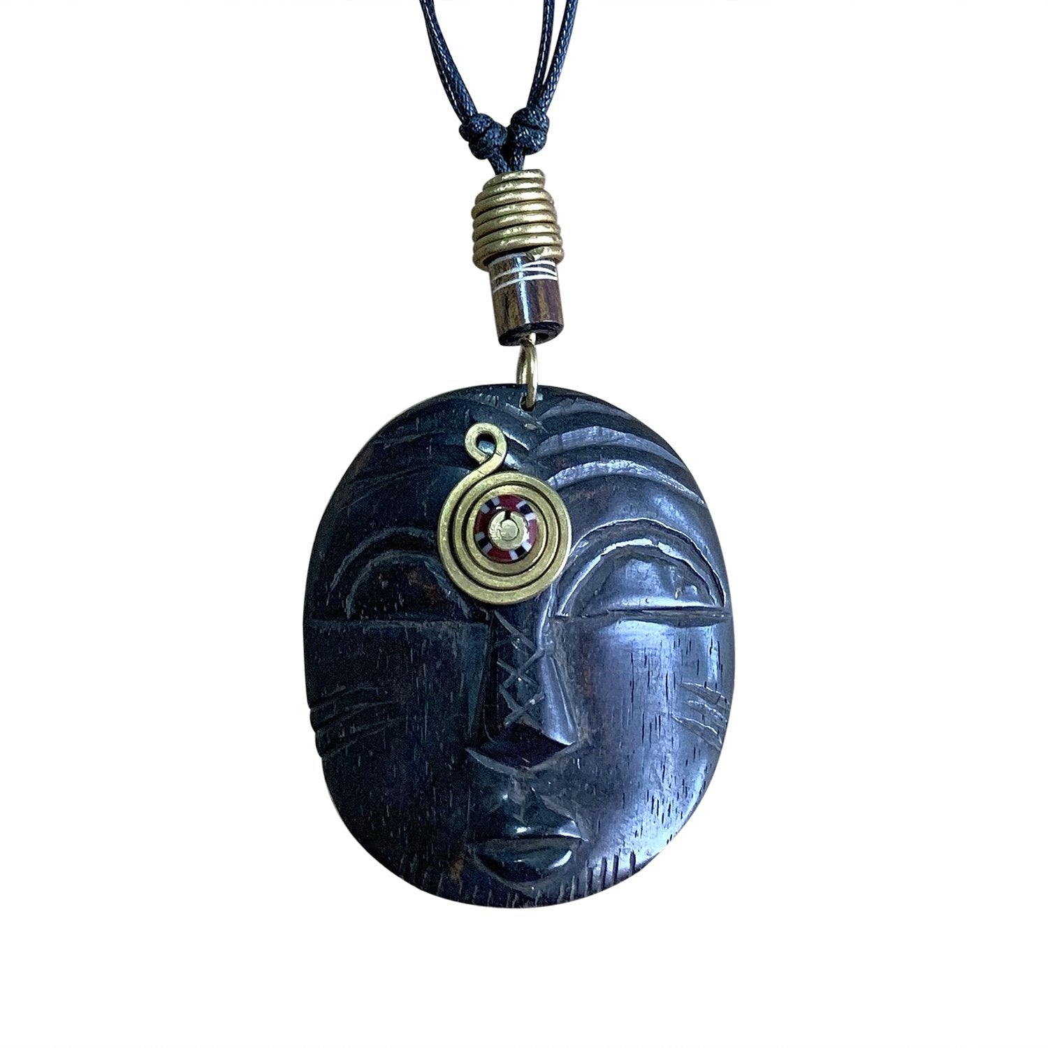 Third Eye II: Authentic Handmade African Mask Bone & Brass Pendant Necklace
