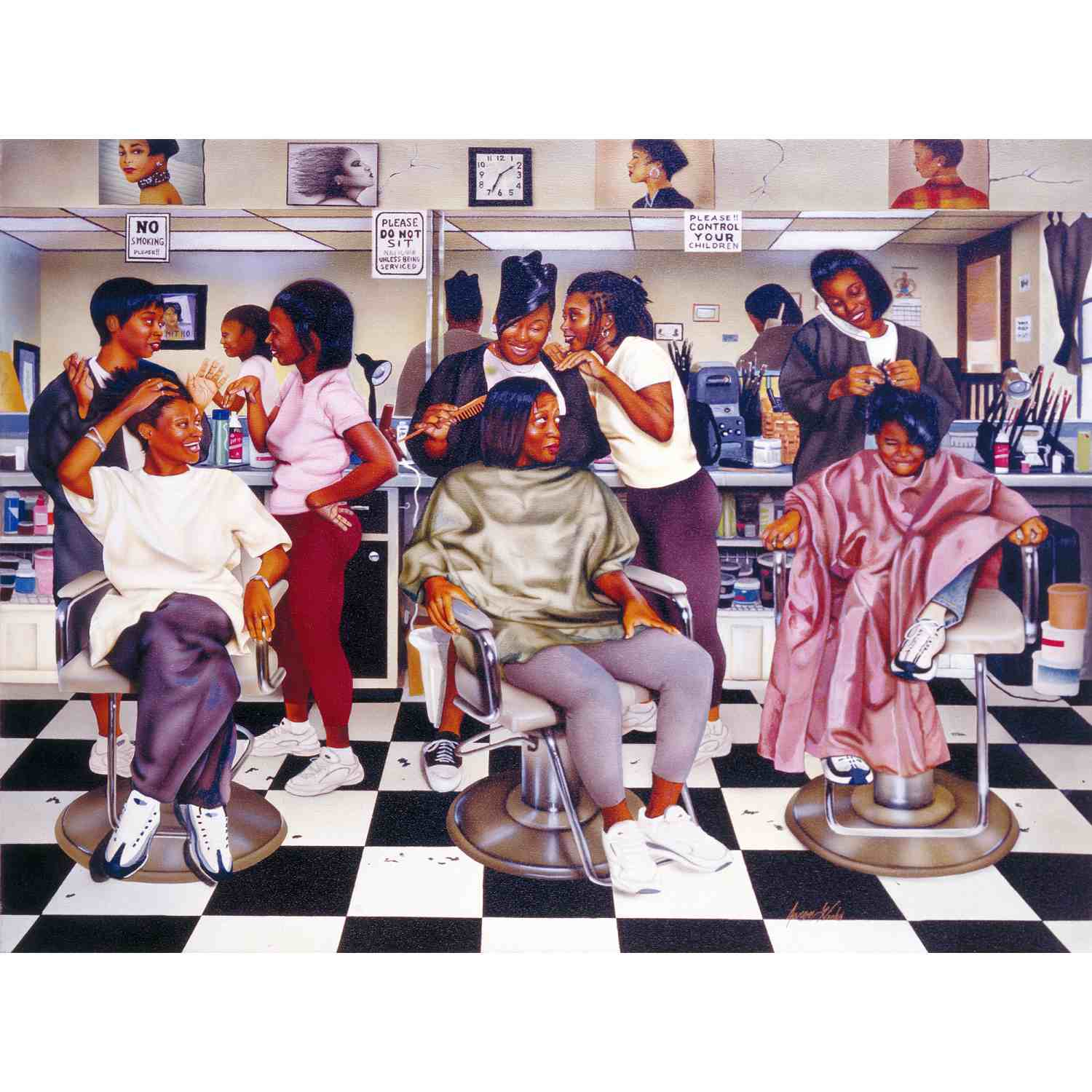 Beauty Salon Gossip by Aaron Hicks: African American Jigsaw Puzzle