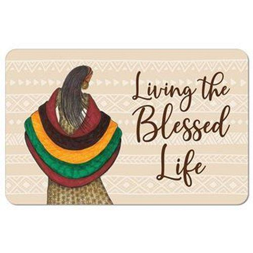 Living the Blessed Life by Albert Fennel: African American Memory Foam Bathroom Floor Mat