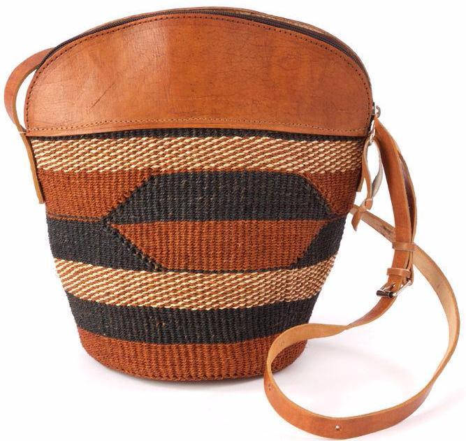 Authentic African Hand Made Sisal and Leather Kiondo (Bag) with Leather Trim