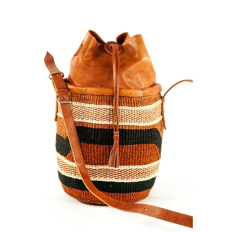 49df89d316d3 Authentic African Hand Made Sisal & Leather Bag with Leather Clinch Top
