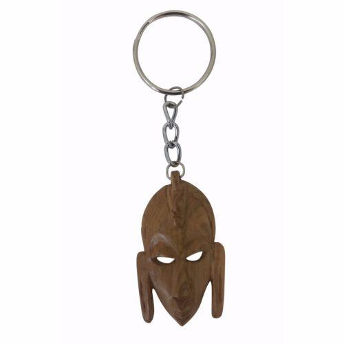 Authentic Hand Made Wood African Mask Key Chain (Kenya)
