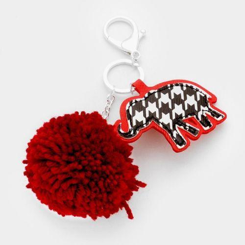 Silver Toned Key Chain with Houndstooth Elephant and Crimson Pom Pom