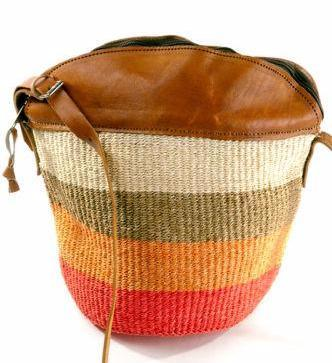 Authentic African Hand Made Citrus Colored Kiondo (Bag) with Leather Trim