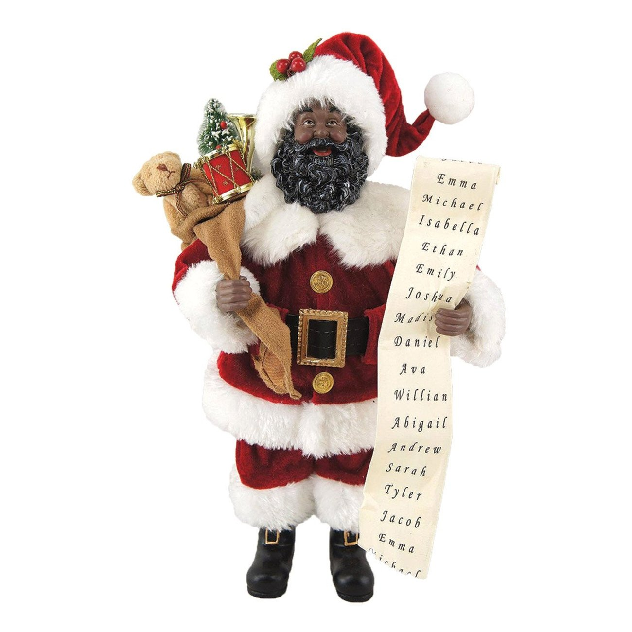 African American Santa Claus with List by Santa's Workshop