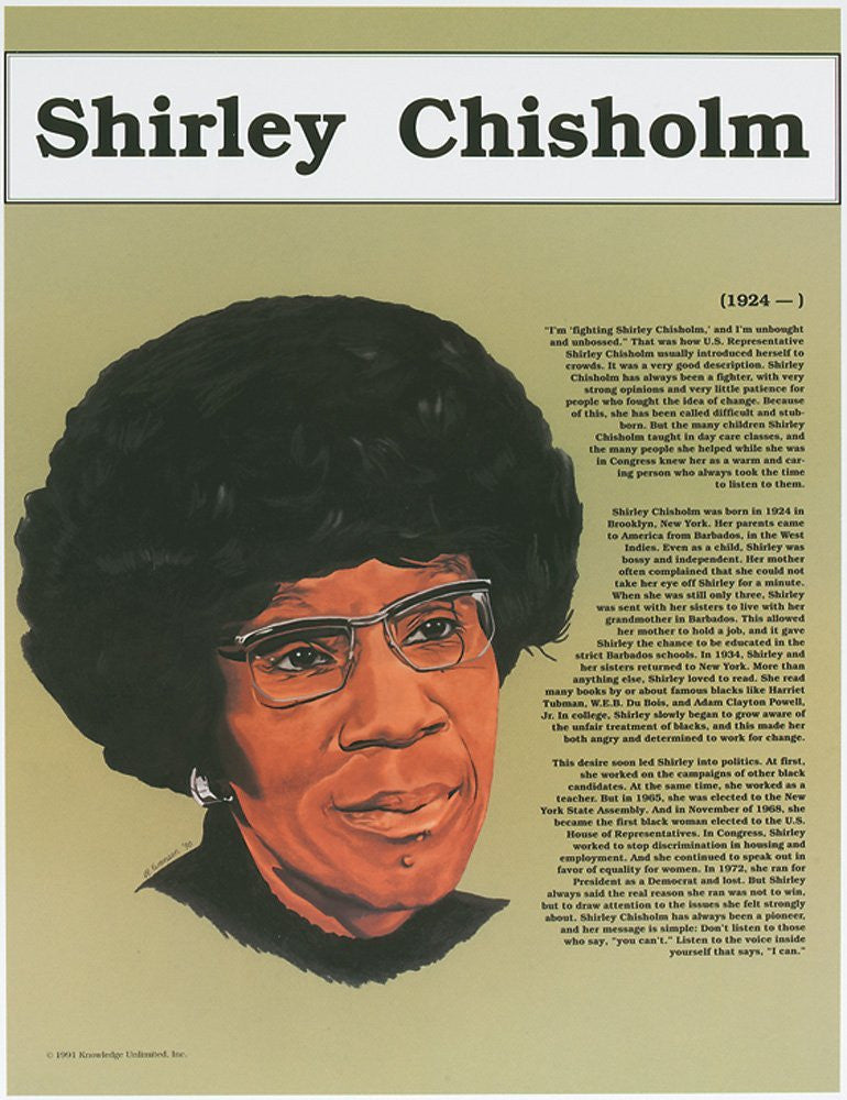 Great Black Americans: Shirley Chisholm Poster by Knowledge Unlimited