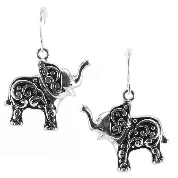 Silver Toned Baby Elephant Earrings by Elephant Boutique