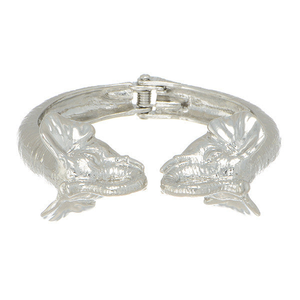 Silver Tone Elephant Head Bangle (Delta Sigma Theta)