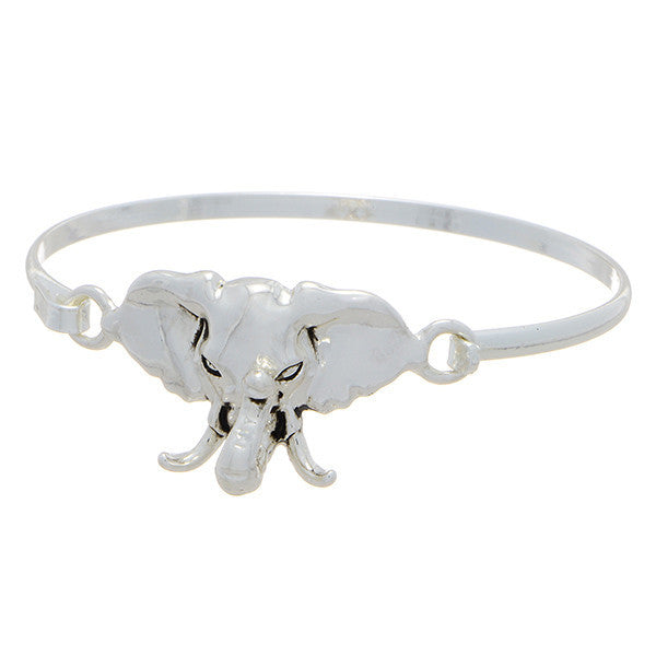Silver Toned Elephant Bangle Bracelet