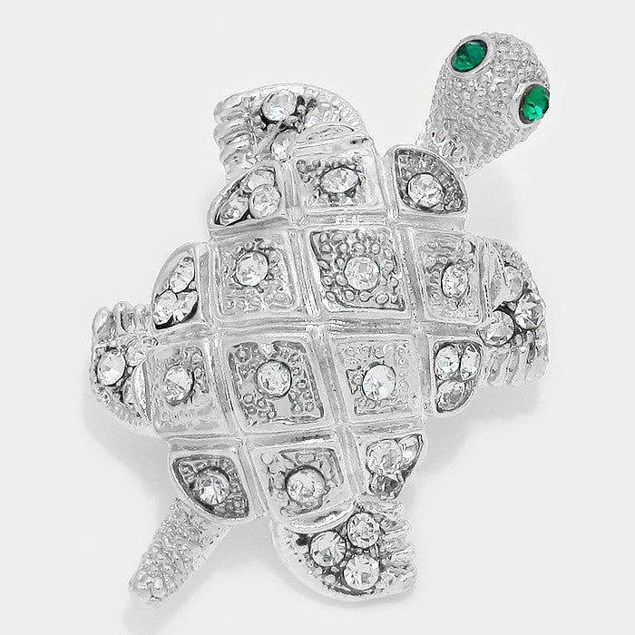 Order of Turtle Inspired Crystal Pave Silver Toned Brooch (Front)