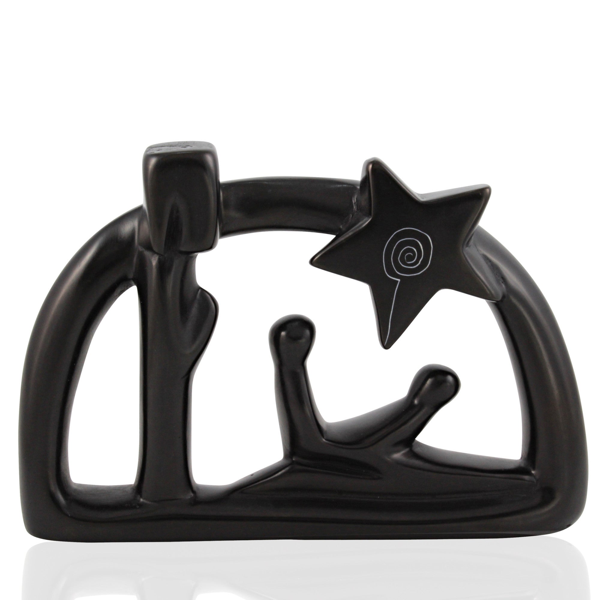 Hand Made Kenyan Soapstone Arched Nativity Piece (Black)