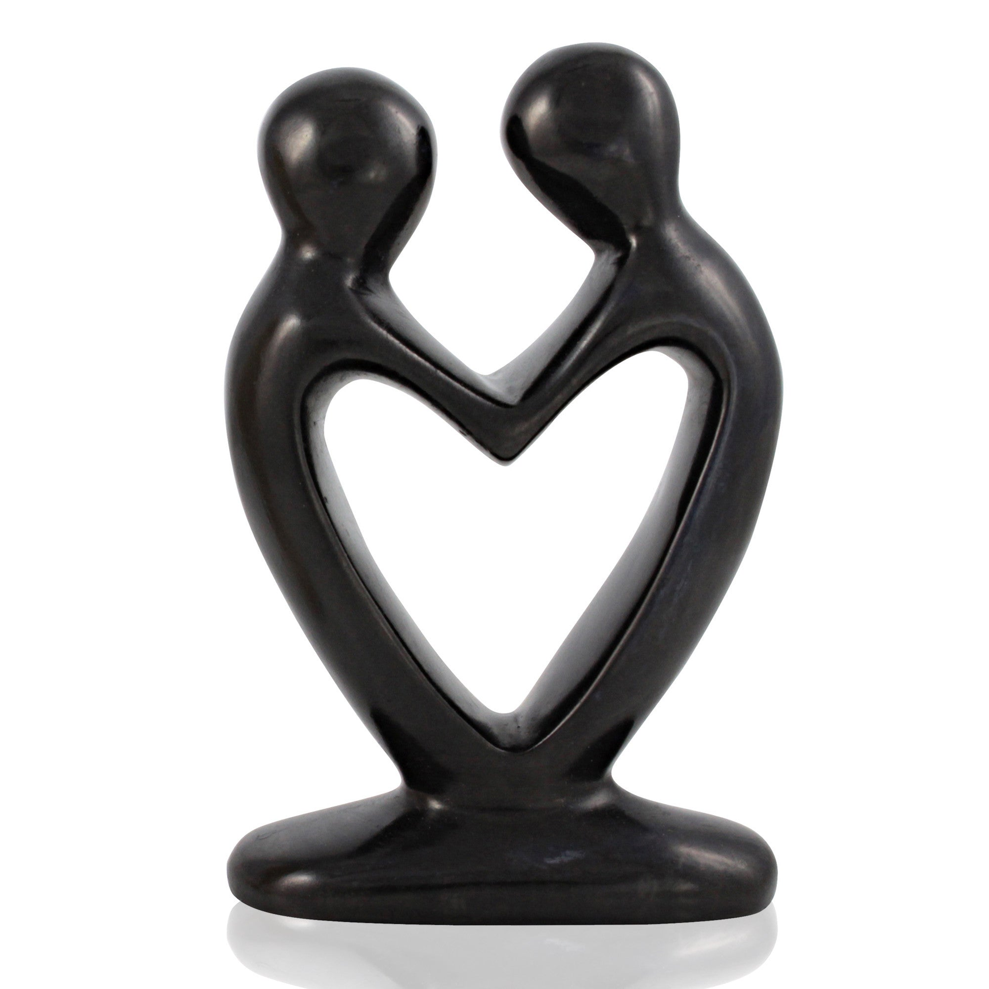 Small Kenyan Heart Couple Soapstone (Black) Figurine by Venture Imports