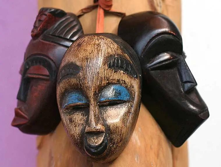 So Happy: Authentic African Hand Made Miniature Mask Set by Victor Delanyo