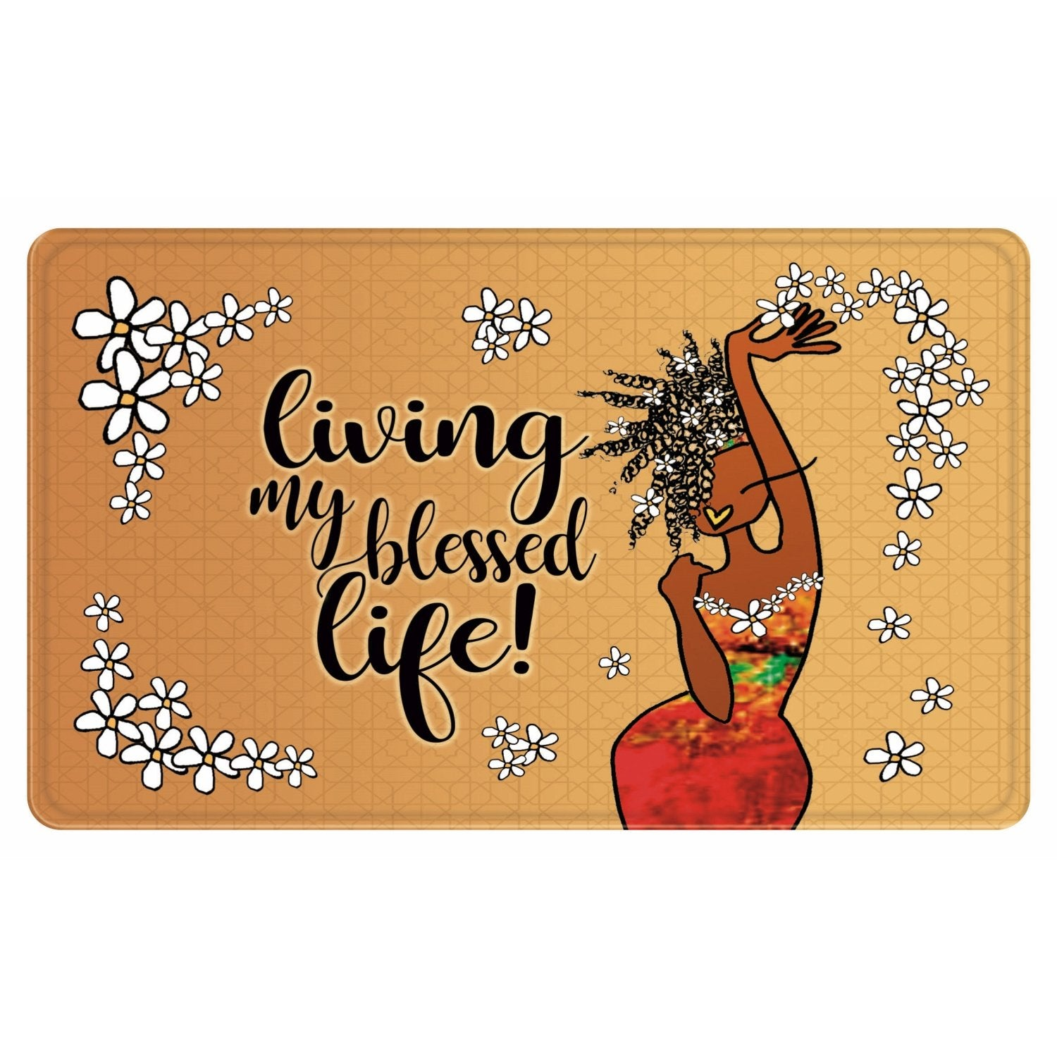 Living My Blessed Life: African American Memory Foam Mat by Kiwi McDowell