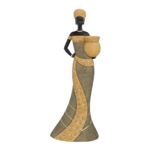 African Woman II (Olive): Essence of Africa Taper Candlestick Holder