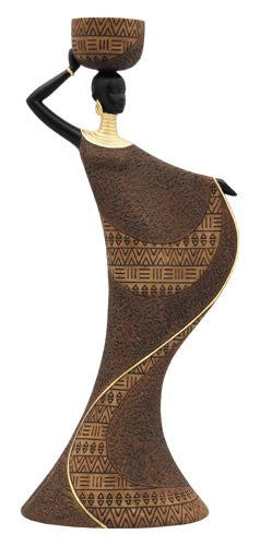 African Woman III (Brown): Essence of Africa Tea Light Holder