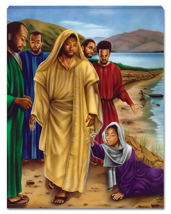 The Touch (Black Jesus) Canvas Wall Hanging by J.A.Y.