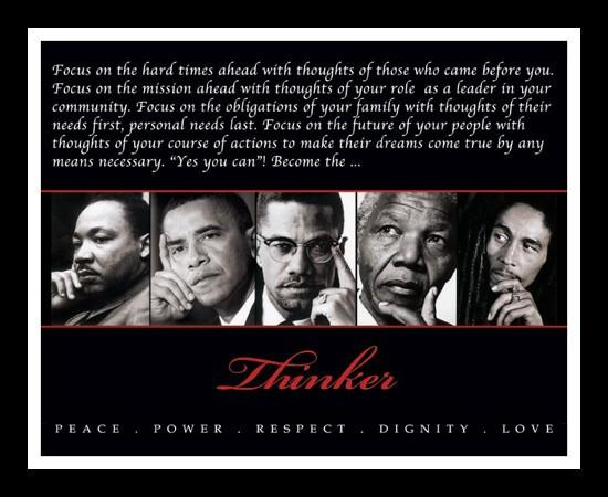 The Thinker (Martin Luther King, Barack Obama, Malcolm X, Nelson Mandela, Bob Marley) by Anonymous (Framed)