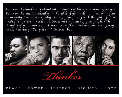 The Thinker (Martin Luther King, Barack Obama, Malcolm X ... Respect Hat Marley
